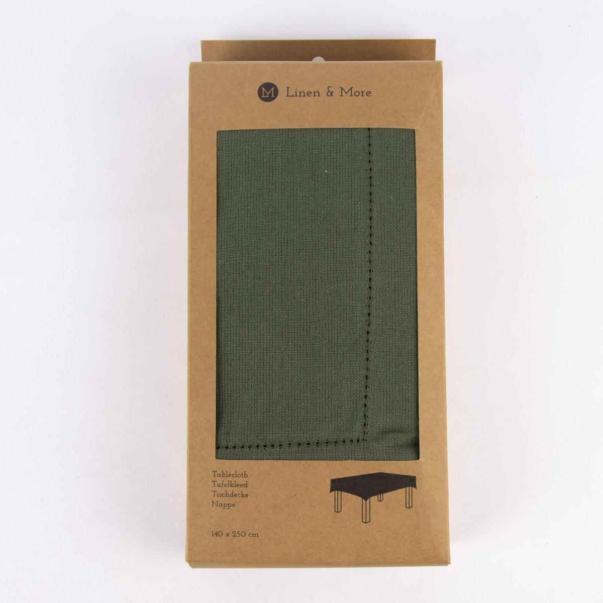 Linen & More Tischdecke Indi einfarbig army grün 140x250cm