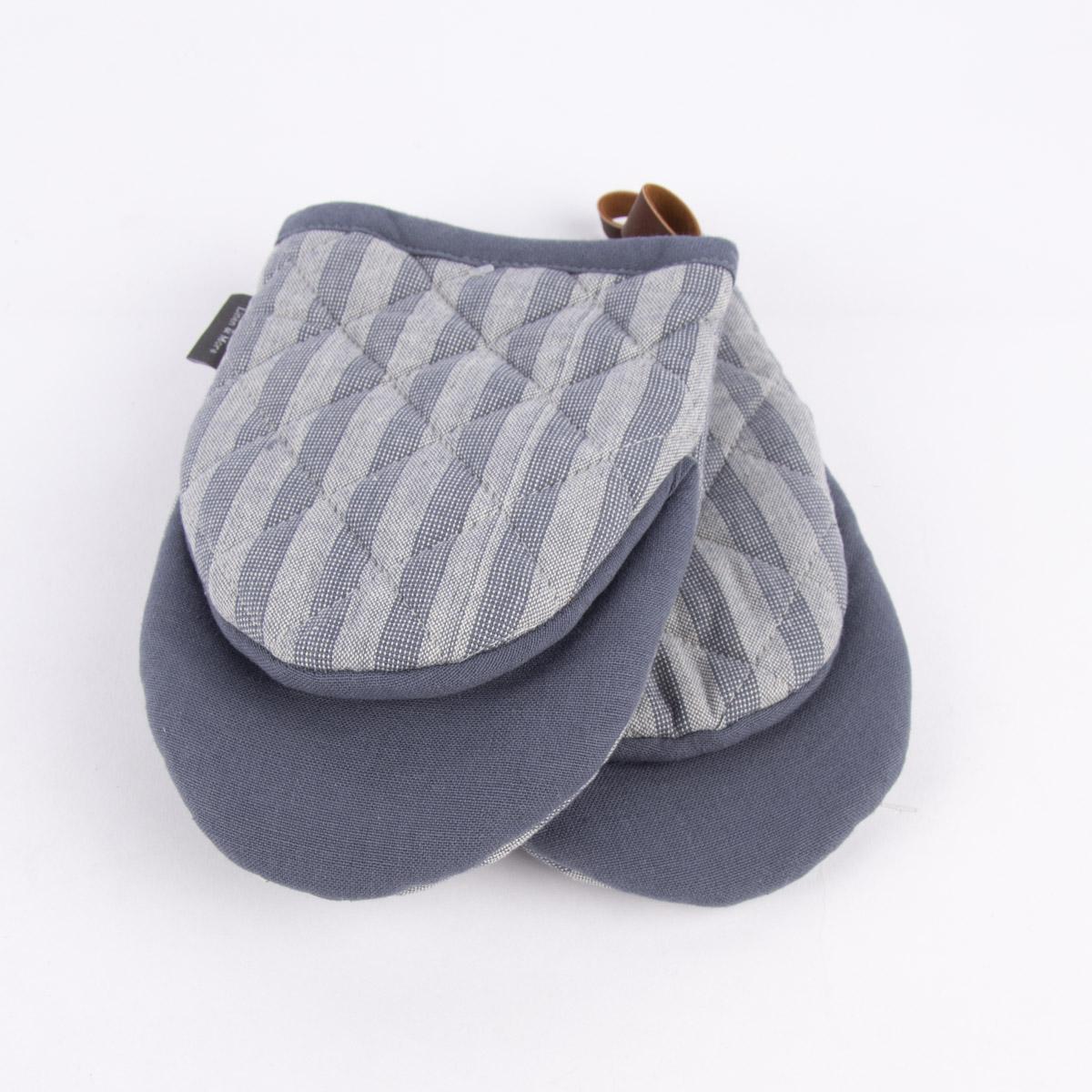 Linen & More Ofenhandschuh gestreift Einheitsgröße 2er Set indigo blau dunkelblau 14x20cm