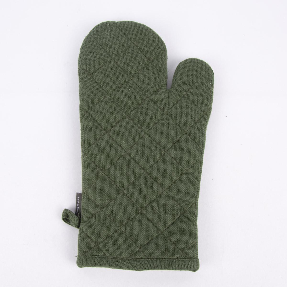Linen & More Ofenhandschuh Indi Einheitsgröße einfarbig army grün 18x33cm