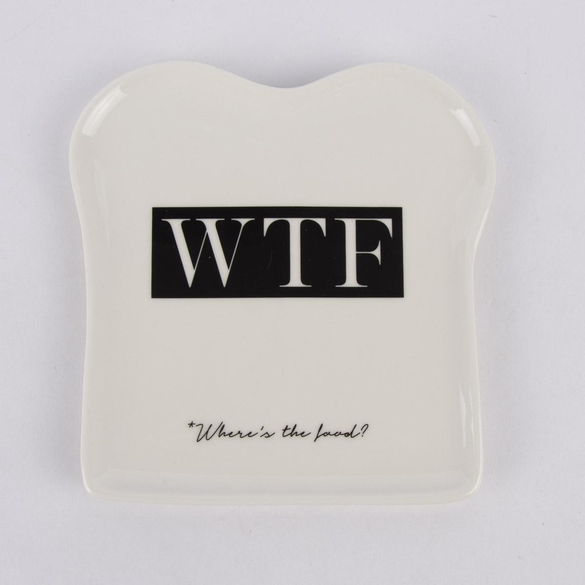 Grafik Werkstatt Toastteller WTF weiß schwarz 14,5x15,5cm