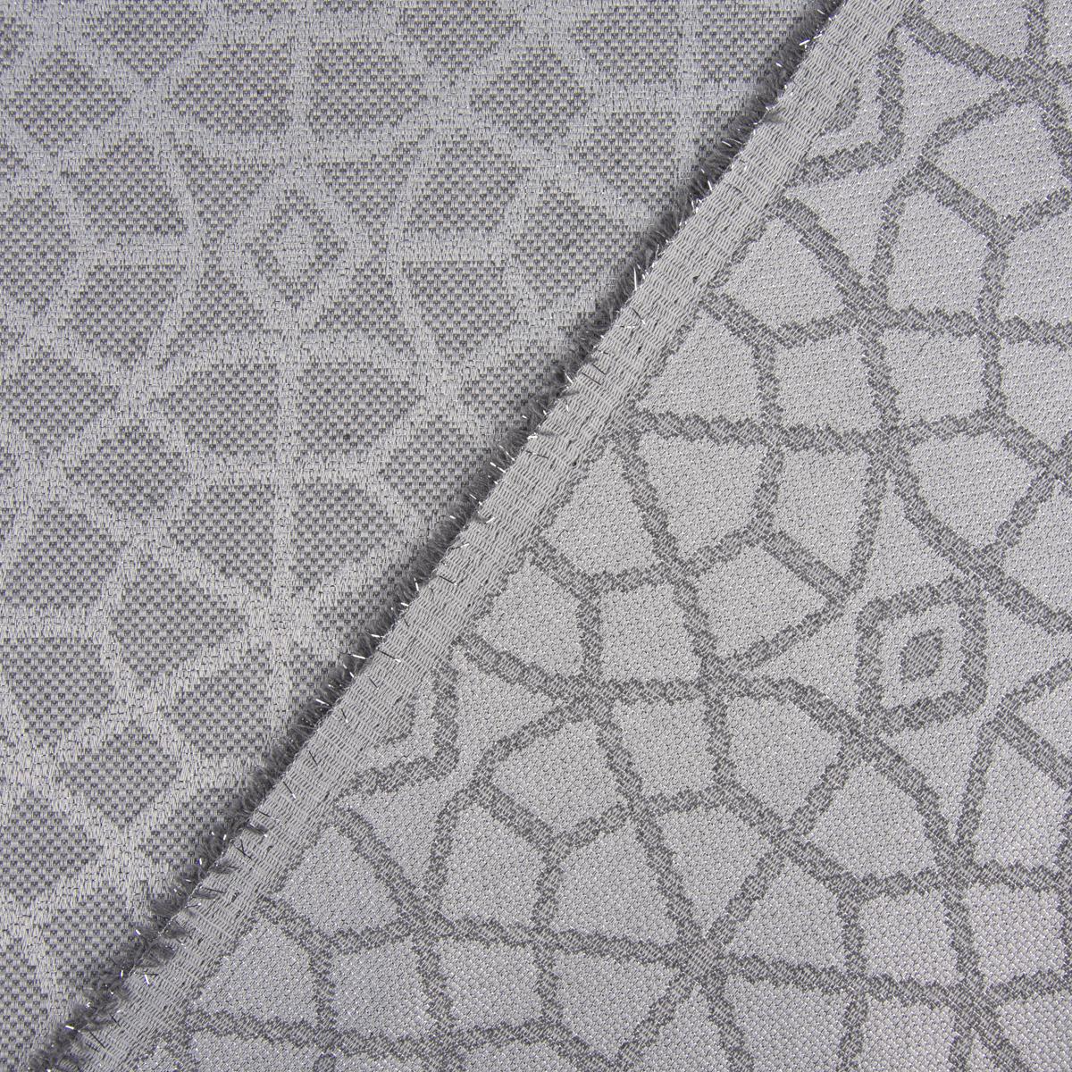 Dekostoff Jacquard Doubleface Glitzer geometrisch Kreise grau silberfarbig 2,80m Breite