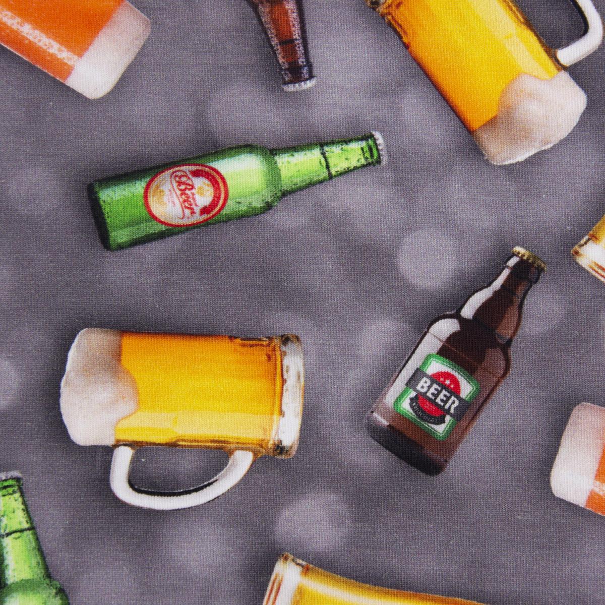 Baumwolljersey Digitaldruck Bier Flaschen Krüge grau bunt 1,5m Breite