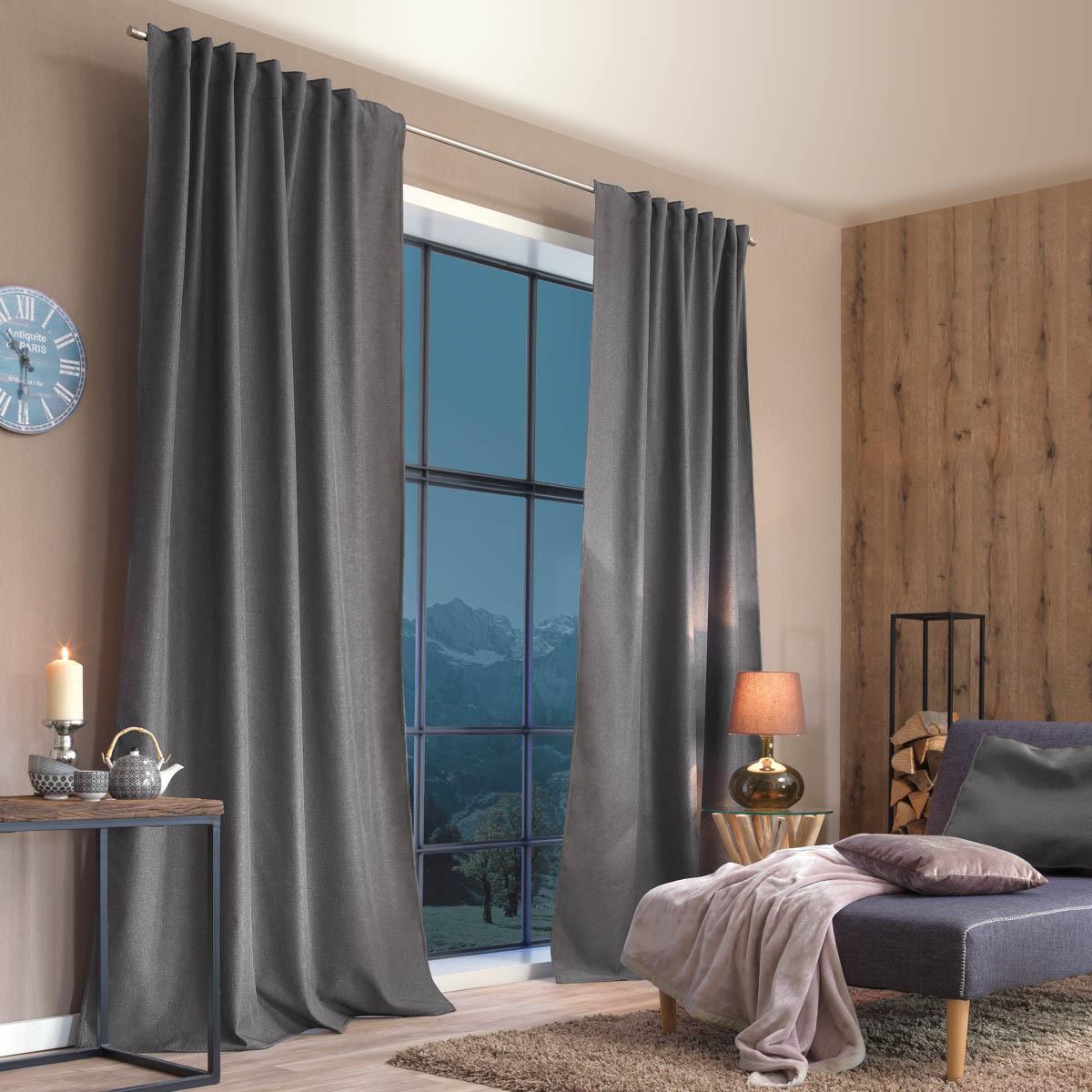 Thermo Vorhang mit Schlaufenband Kälte- und Hitzeschutz einfarbig dunkelgrau 135x245cm