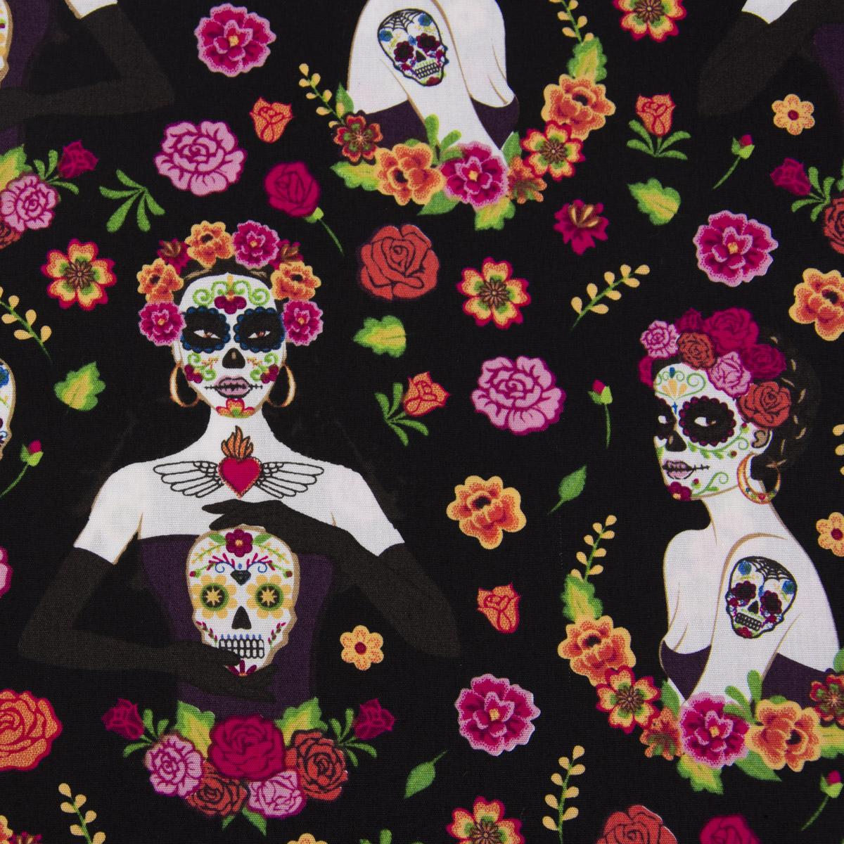 Baumwollstoff Totenkopf Blumen schwarz pink bunt 1,42m Breite