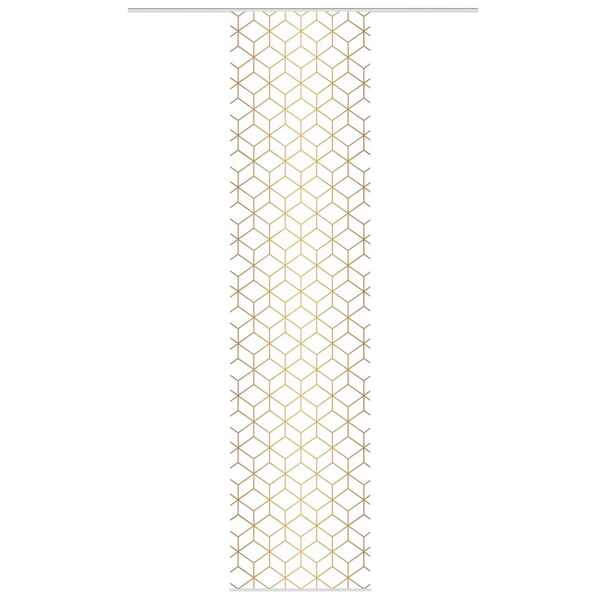 Schiebevorhang Bambusoptik Sesana geometrisch Digitaldruck weiß gold kürzbar 60x260cm