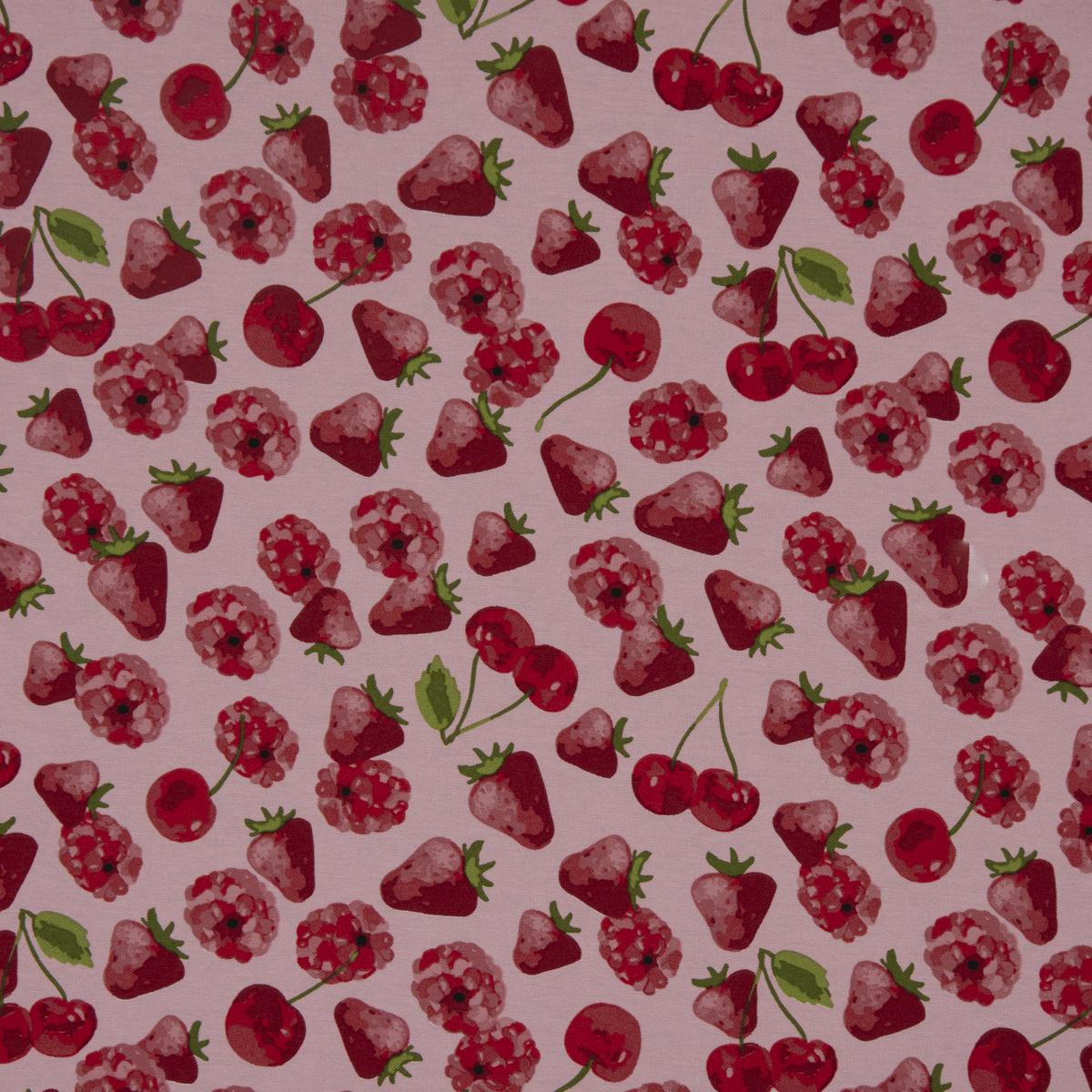 Dekostoff Ottoman Canvas Früchte Erdbeeren Kirschen Himbeeren rosa, pink 1,40m Breite