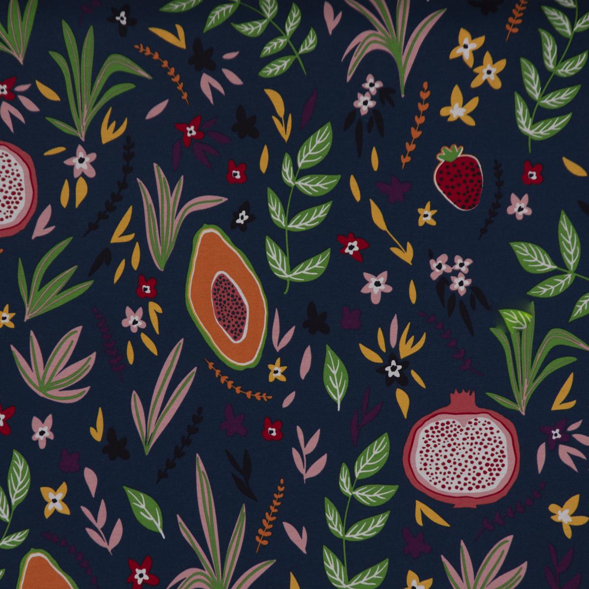 Dekostoff Ottoman Canvas Früchte Blumen Blätter blau bunt 1,40m Breite