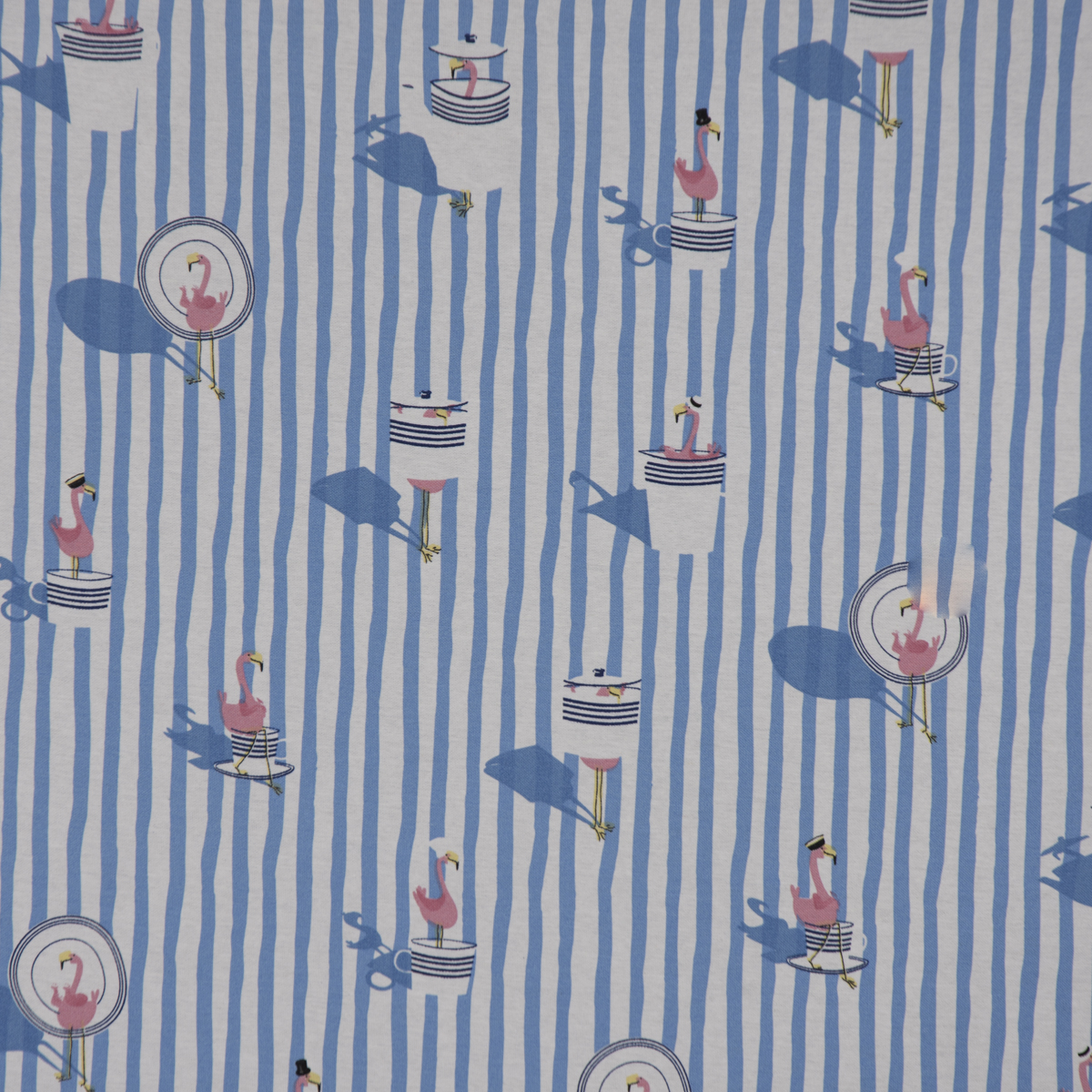 Dekostoff Ottoman Canvas Flamingo Streifen maritim hellblau ecru 1,40m Breite