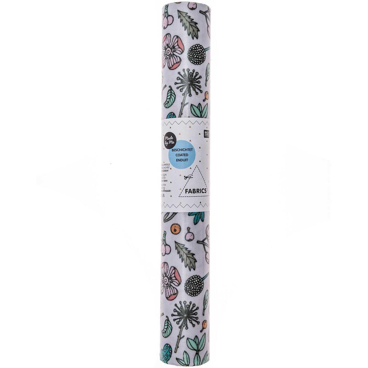 Rico Design beschichtete Baumwolle Stoffabschnitt Blumen Blätter Neon flieder bunt 25x70cm