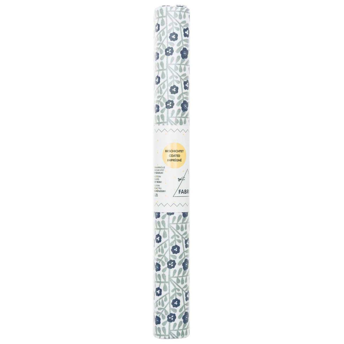 Rico Design beschichtete Baumwolle Stoffabschnitt Blumen klein Ranken weiß grün blau 25x70cm