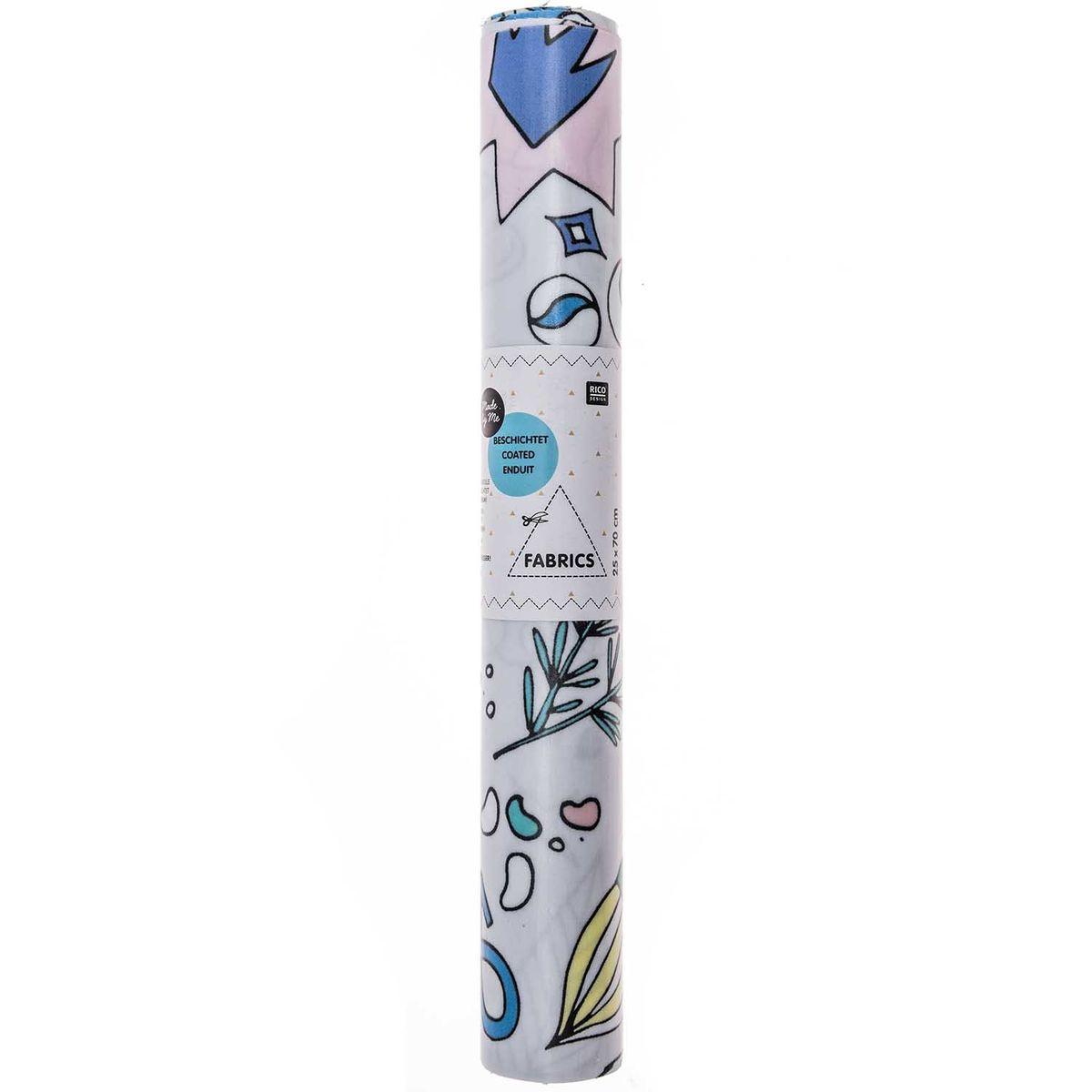 Rico Design beschichtete Baumwolle Stoffabschnitt Insekten Blätter Sterne grau bunt 25x70cm