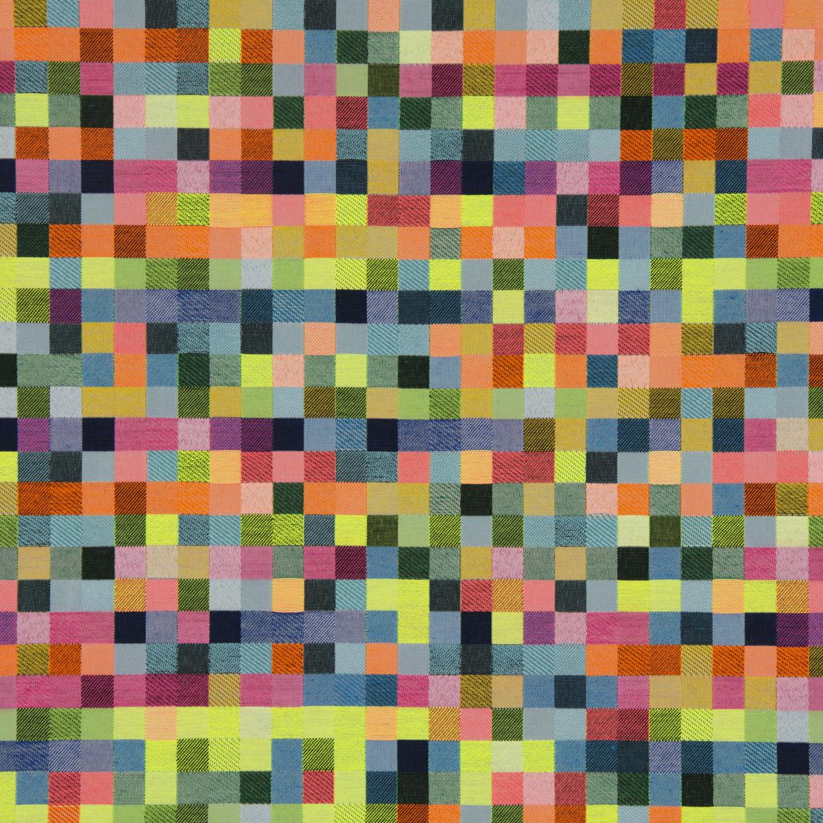 Dekostoff Doubleface Wendestoff Jacquard Kästchen Pixel Neon Farben bunt 1,4m Breite