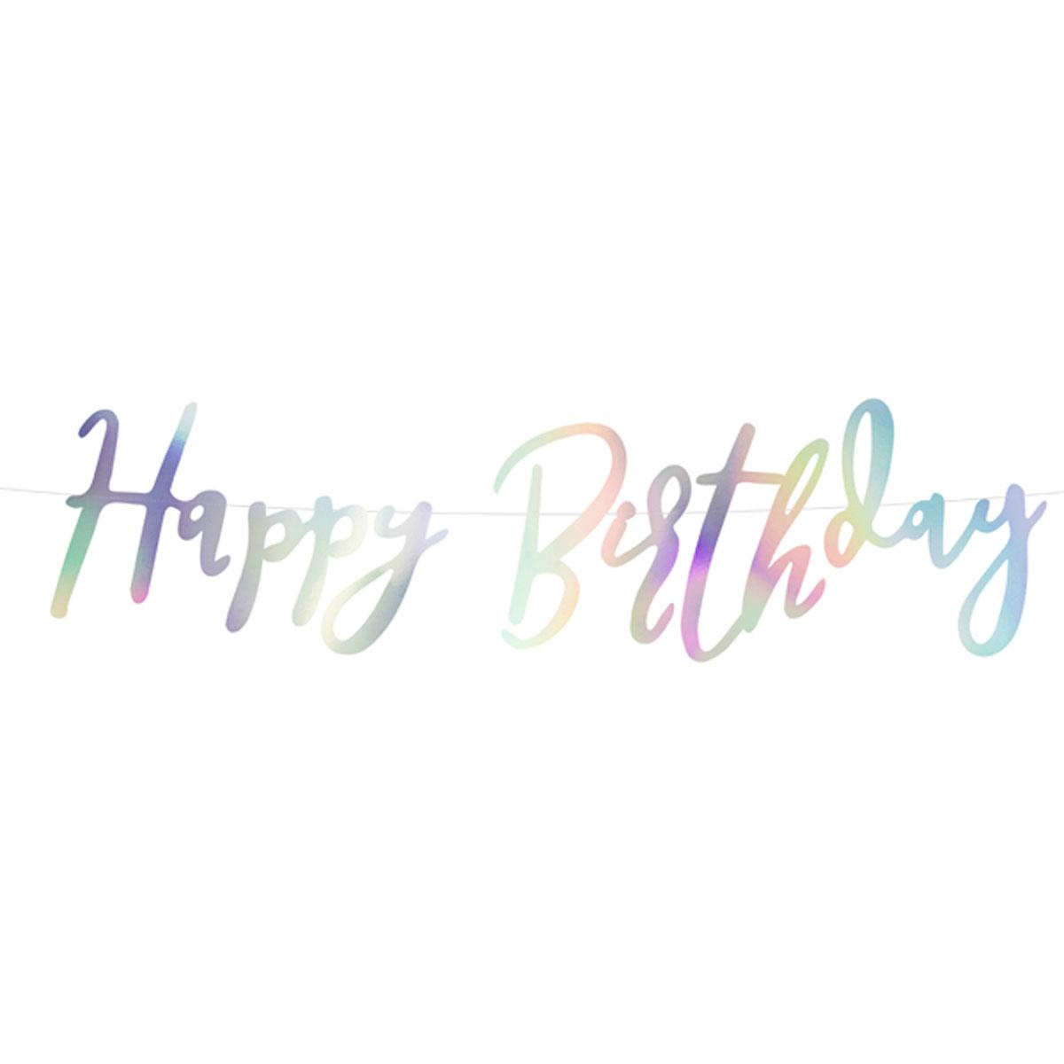 Girlande Schriftzug Happy Birthday irisierend Länge: 200cm