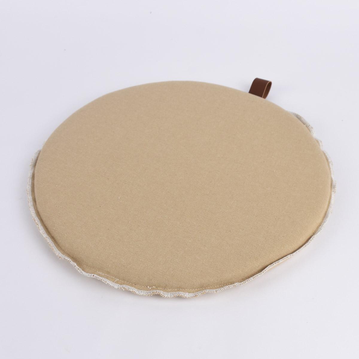 Stuhlkissen rund Schaufe beige 38cm