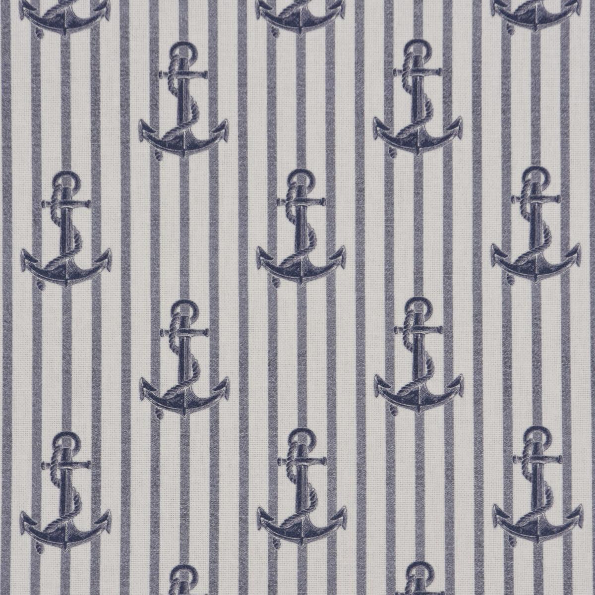 Dekostoff Halbpanama Baumwollstoff Digitaldruck Maritim Anker Streifen weiß blau 1,40m Breite