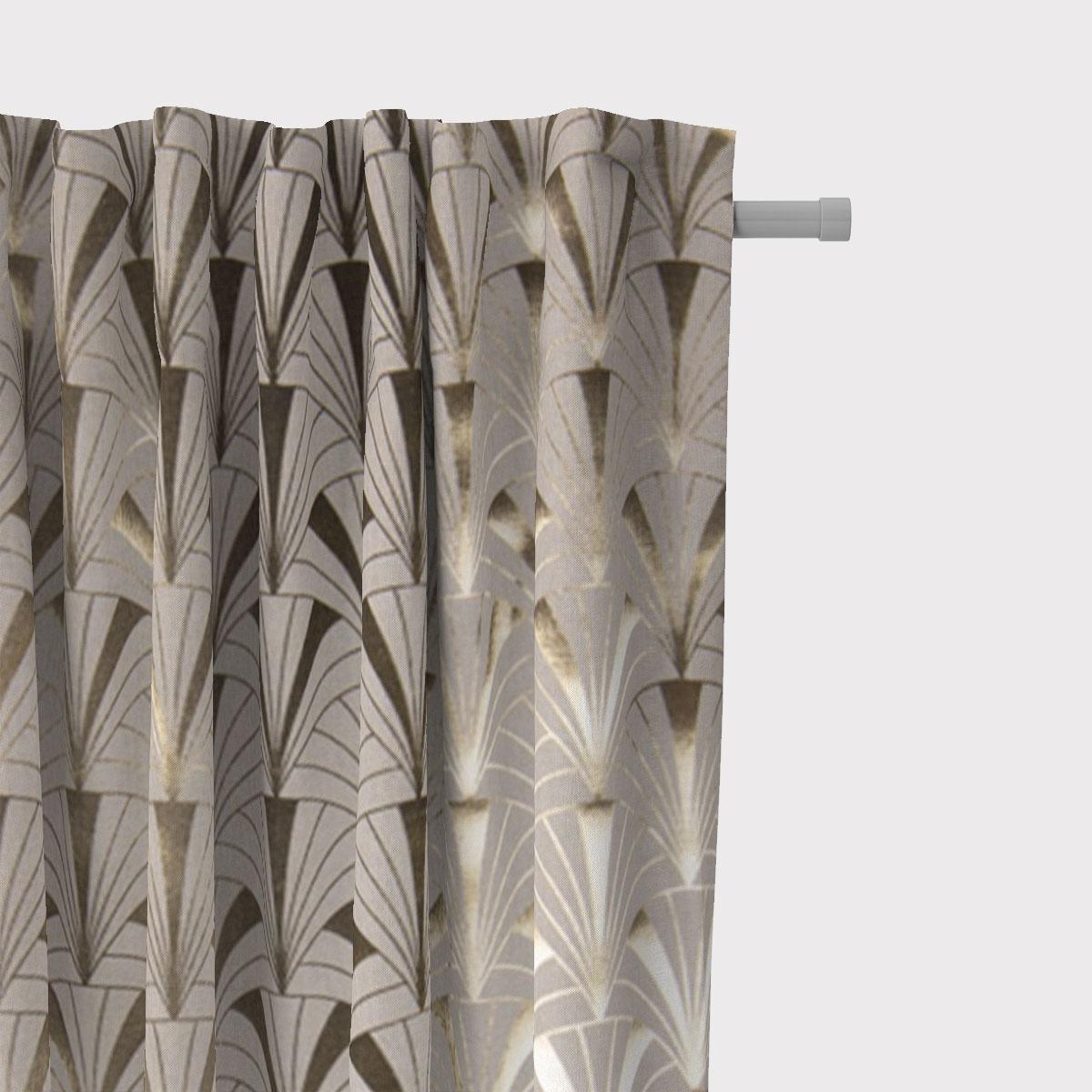 SCHÖNER LEBEN. Vorhang Art Deco Bogen natur gold metallic 245cm oder Wunschlänge
