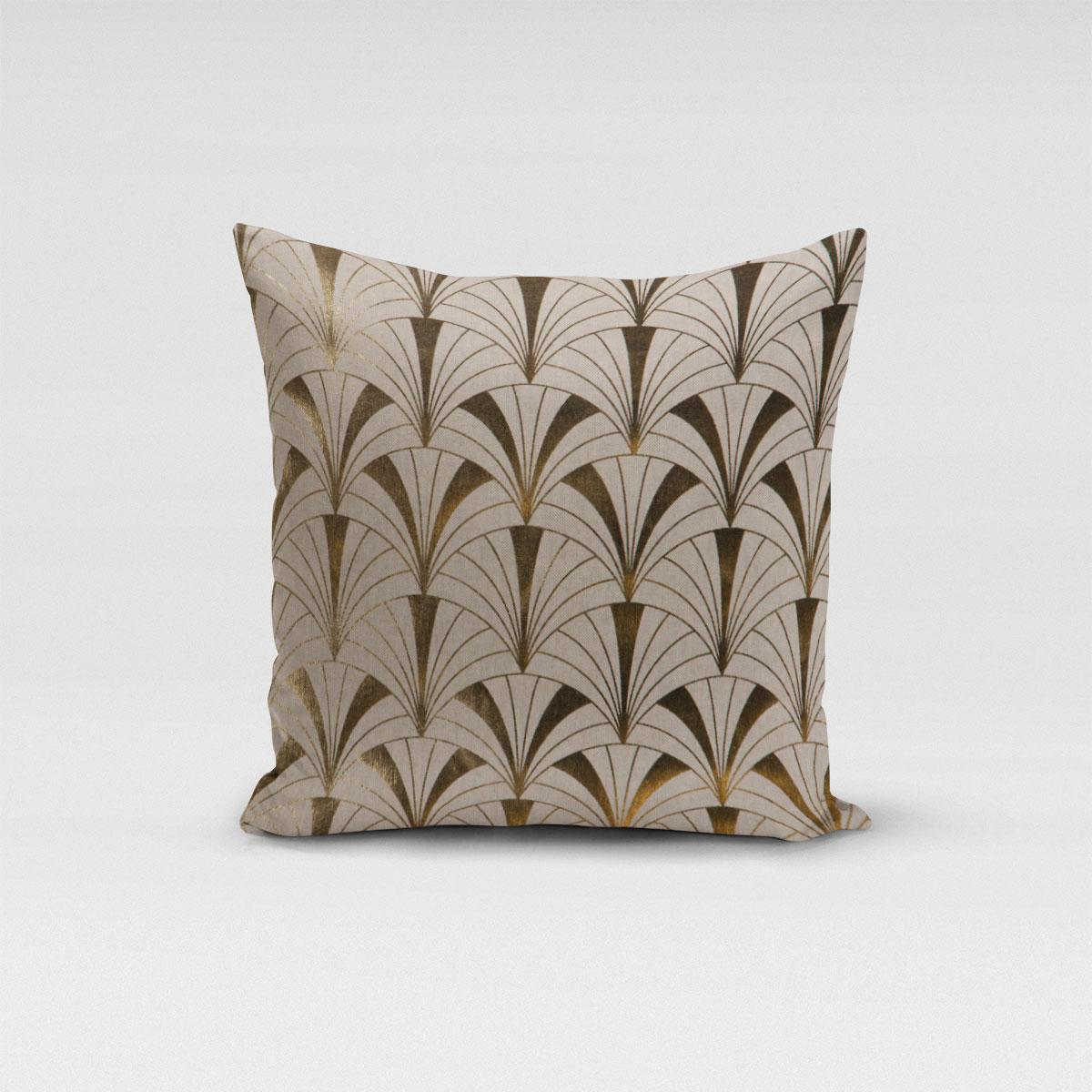 SCHÖNER LEBEN. Kissenhülle Art Deco Bogen natur gold metallic verschiedene Größen