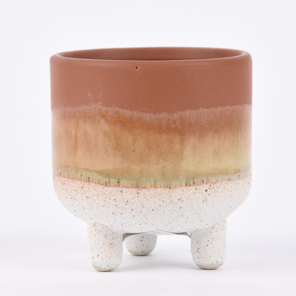 Sass & Belle kleiner Pflanztopf auf Füßen Mojave glasiert Steinzeug braun weiß 8x8,5cm