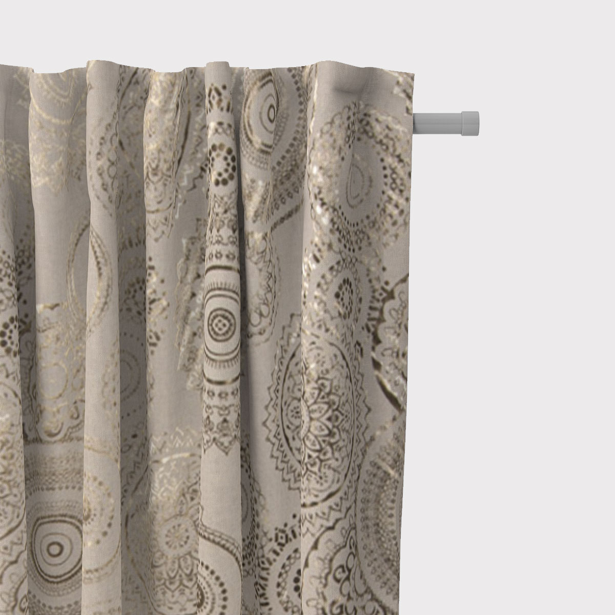 SCHÖNER LEBEN. Vorhang Mandalas  natur gold metallic 245cm oder Wunschlänge