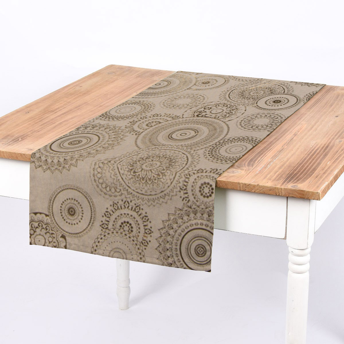 SCHÖNER LEBEN. Tischläufer Mandalas natur gold metallic 40x160cm
