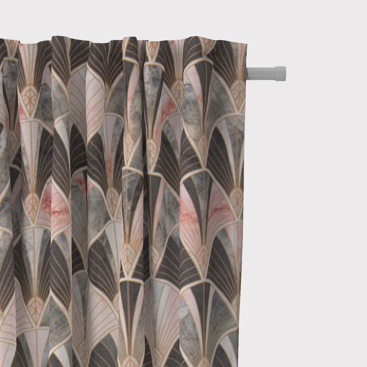 SCHÖNER LEBEN. Vorhang Art Deco Bogen Marmor grün rosa braun 245cm oder Wunschlänge