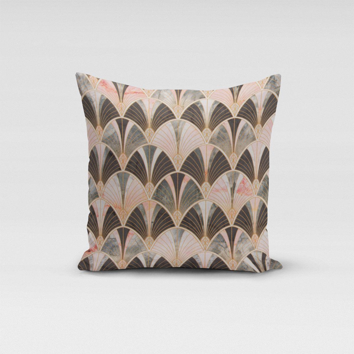 SCHÖNER LEBEN. Kissenhülle Art Deco Bogen Marmor grün rosa braun verschiedene Größen