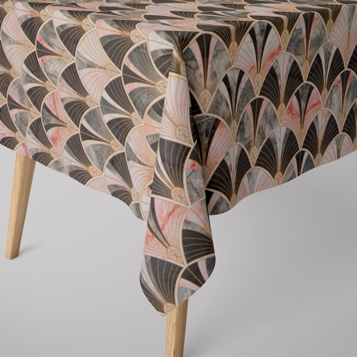 SCHÖNER LEBEN. Tischdecke Art Deco Bogen Marmor grün rosa braun verschiedene Größen