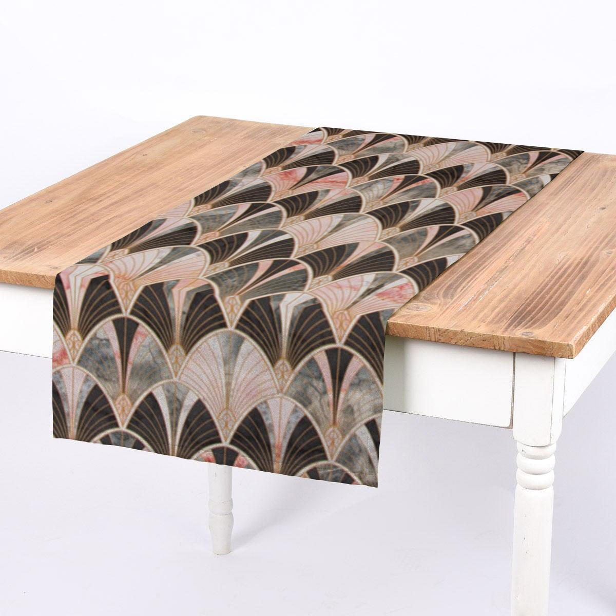 SCHÖNER LEBEN. Tischläufer Art Deco Bogen Marmor grün rosa braun 40x160cm