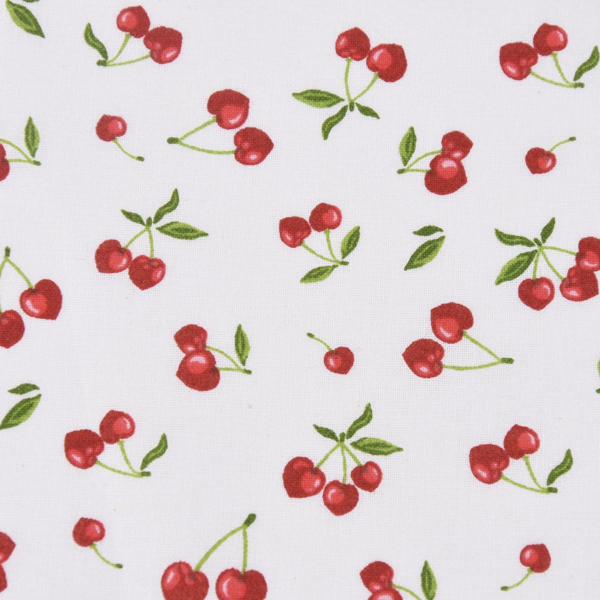 Baumwollstoff Cerises Kirschen weiß rot 1,5m Breite