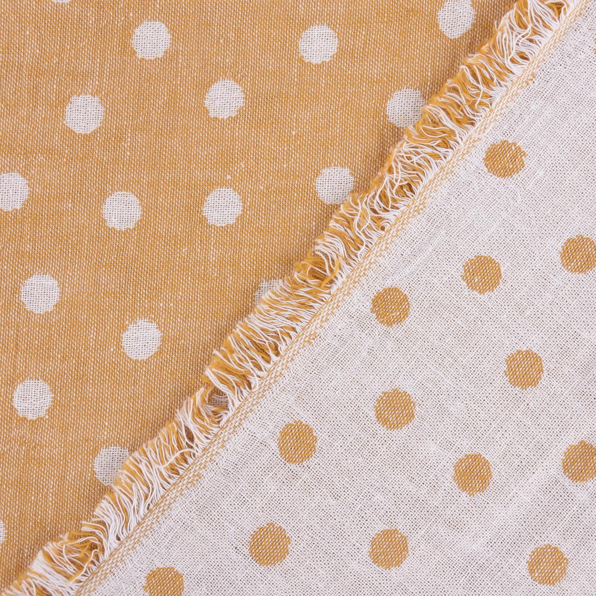 Baumwollstoff Jacquard Doubleface Punkte gelb meliert weiß 1,45m Breite