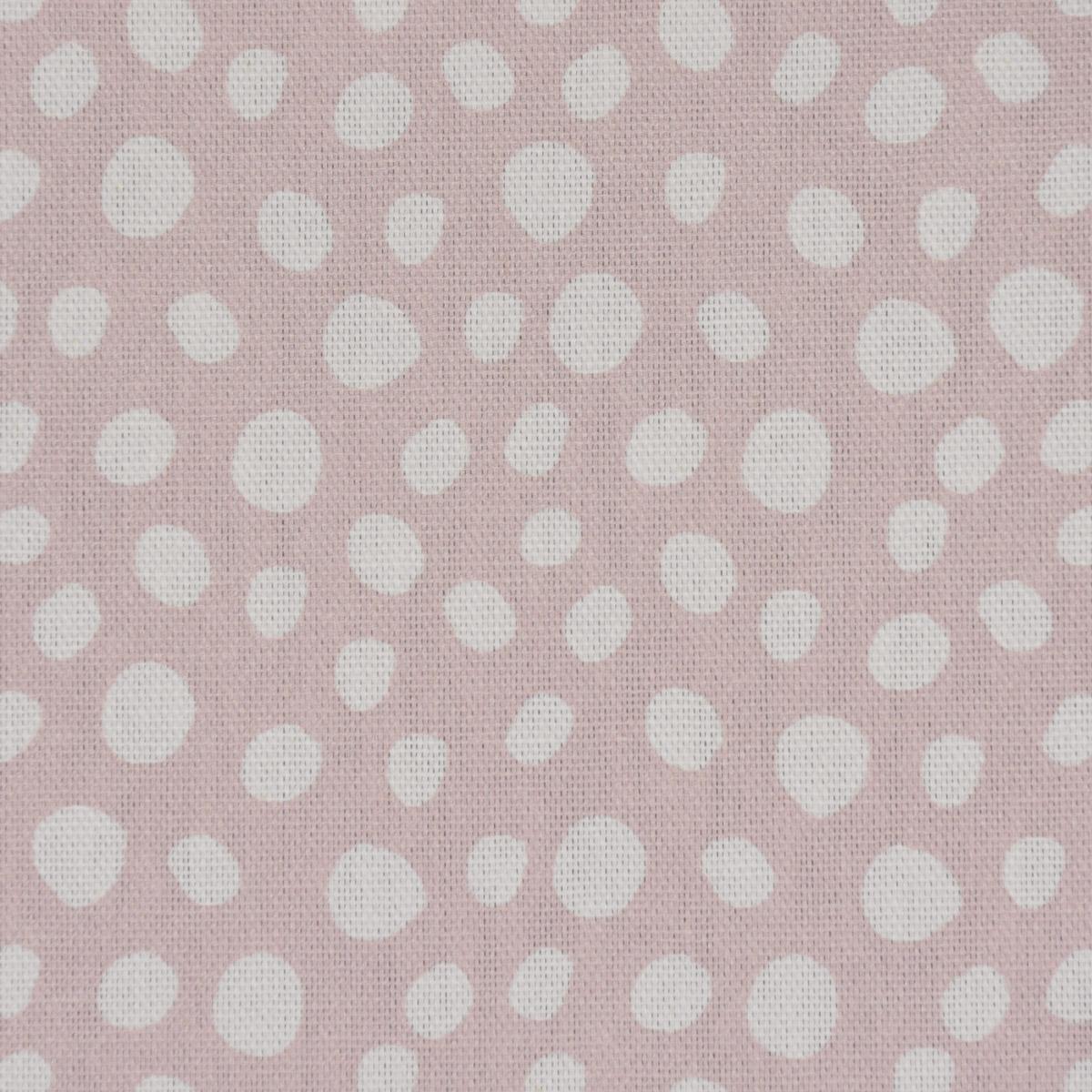 Dekostoff Baumwollstoff Halbpanama wollweiß mit Tupfen rosa weiß 1,40m Breite