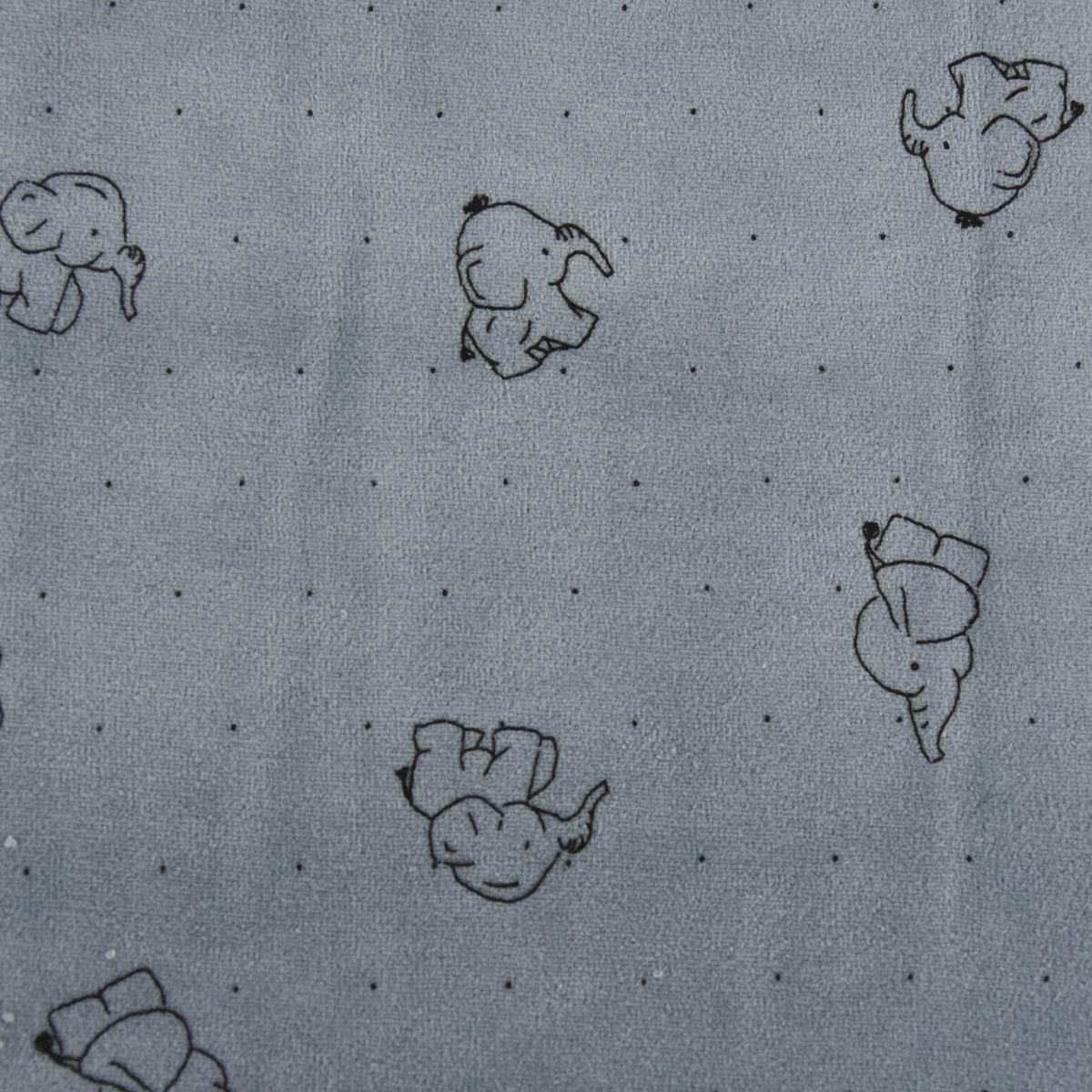Bekleidungsstoff Nicky Elefanten Punkte jeansblau schwarz 1,45m Breite