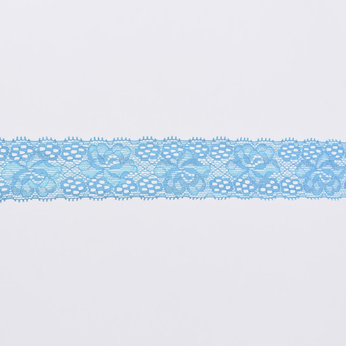 Spitze elastisch Blumen Meterware türkis Breite: 3cm