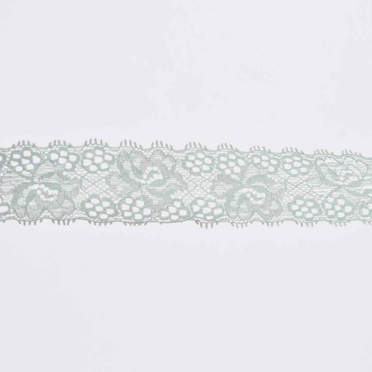 Spitze elastisch Blumen Meterware mint Breite: 3cm