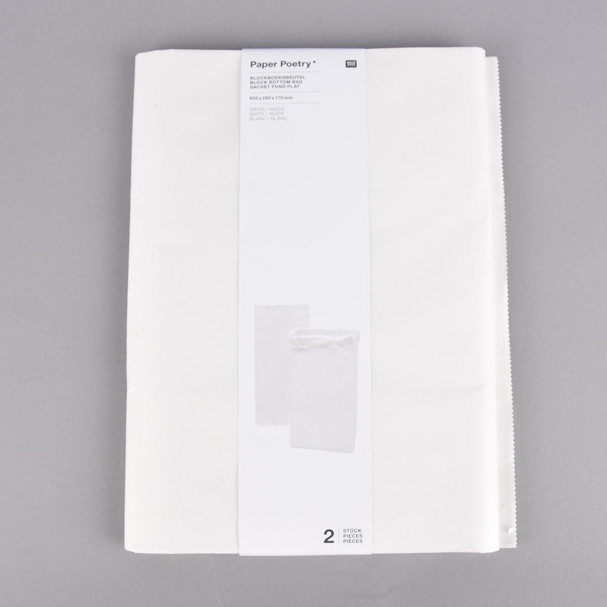 Rico Design Maxi Blockbodenbeutel L Blanko 60x28x17cm 2 Stück verschiedene Farben