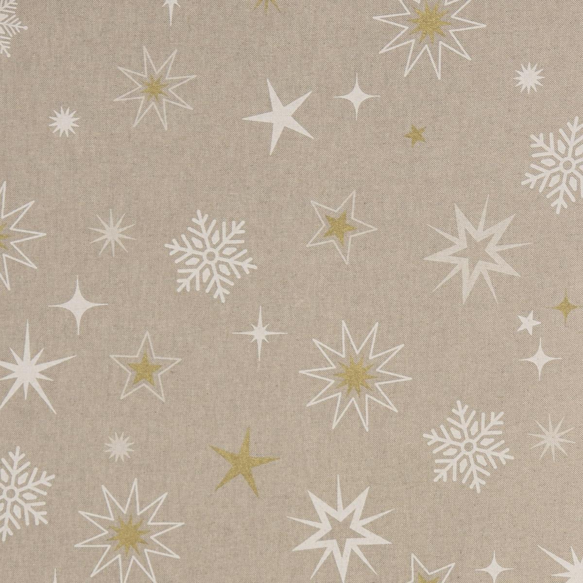 Dekostoff Halbpanama Leinenlook Weihnachtstoff Magic Star Sterne Schneeflocken natur weiß goldfarbig 1,40m Breite