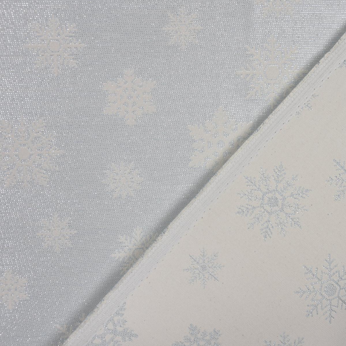 Dekostoff Jacquard Wendestoff Ice Star Schneeflocken Eiskristalle beige hellblau silberfarbig1,40m Breite