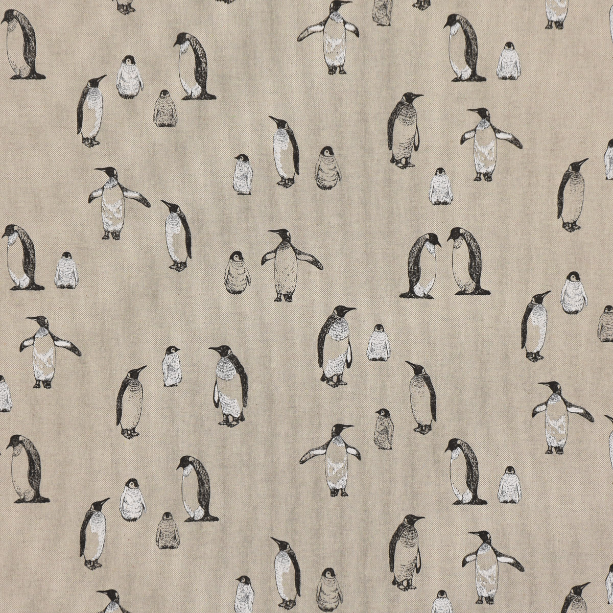 Dekostoff Halbpanama Leinenlook Pinguine Pinguinfamilie natur schwarz 1,40m Breite