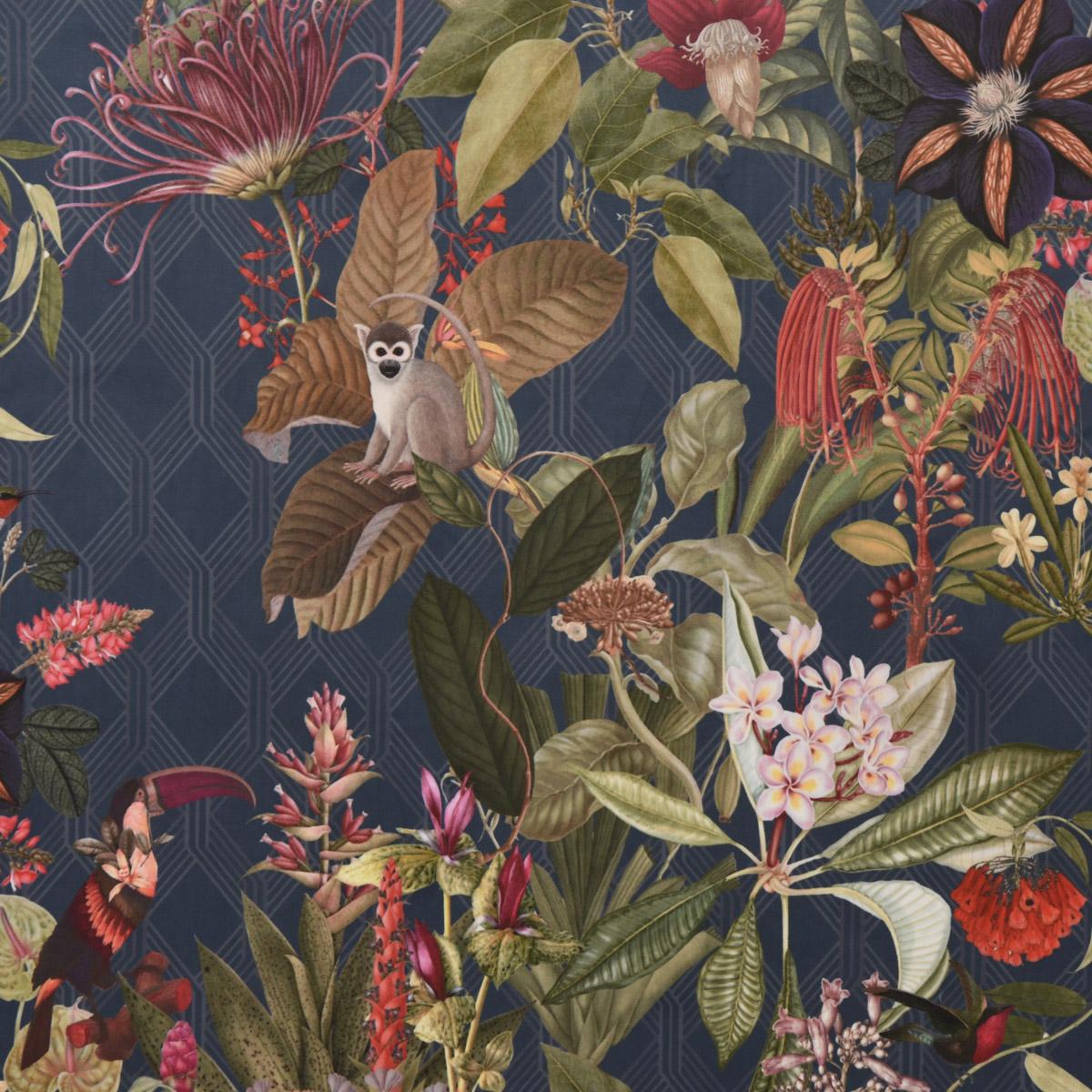 Samtstoff Dekostoff Velvet Samt Dschungel Botanic Chic Botanik Raute blau 1,45m