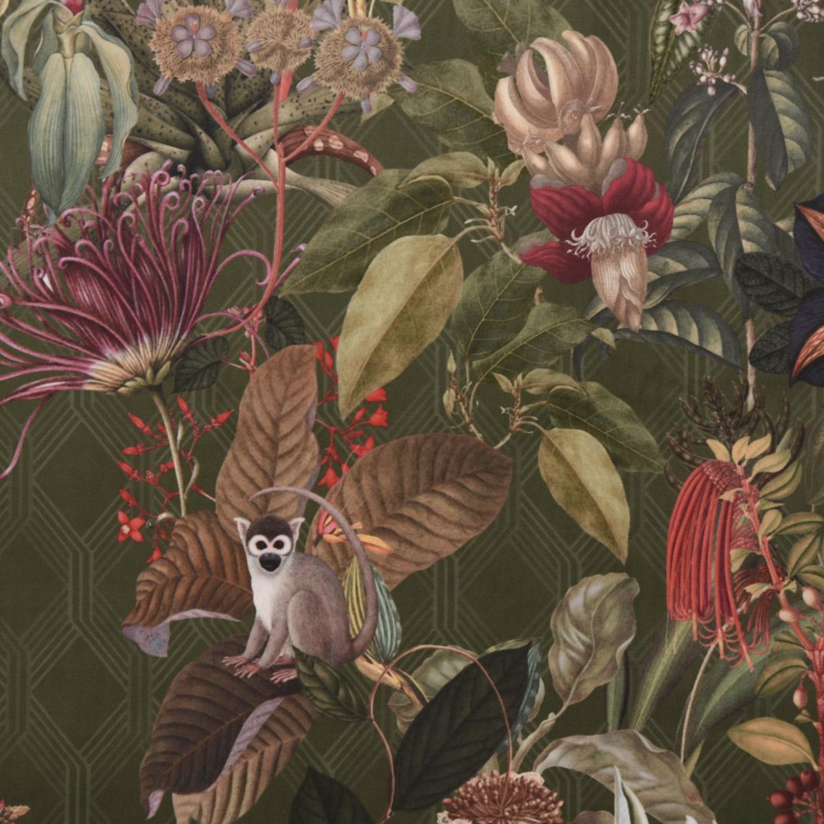 Samtstoff Dekostoff Velvet Samt Botanic Chic Dschungel Botanik Raute grün 1,45m
