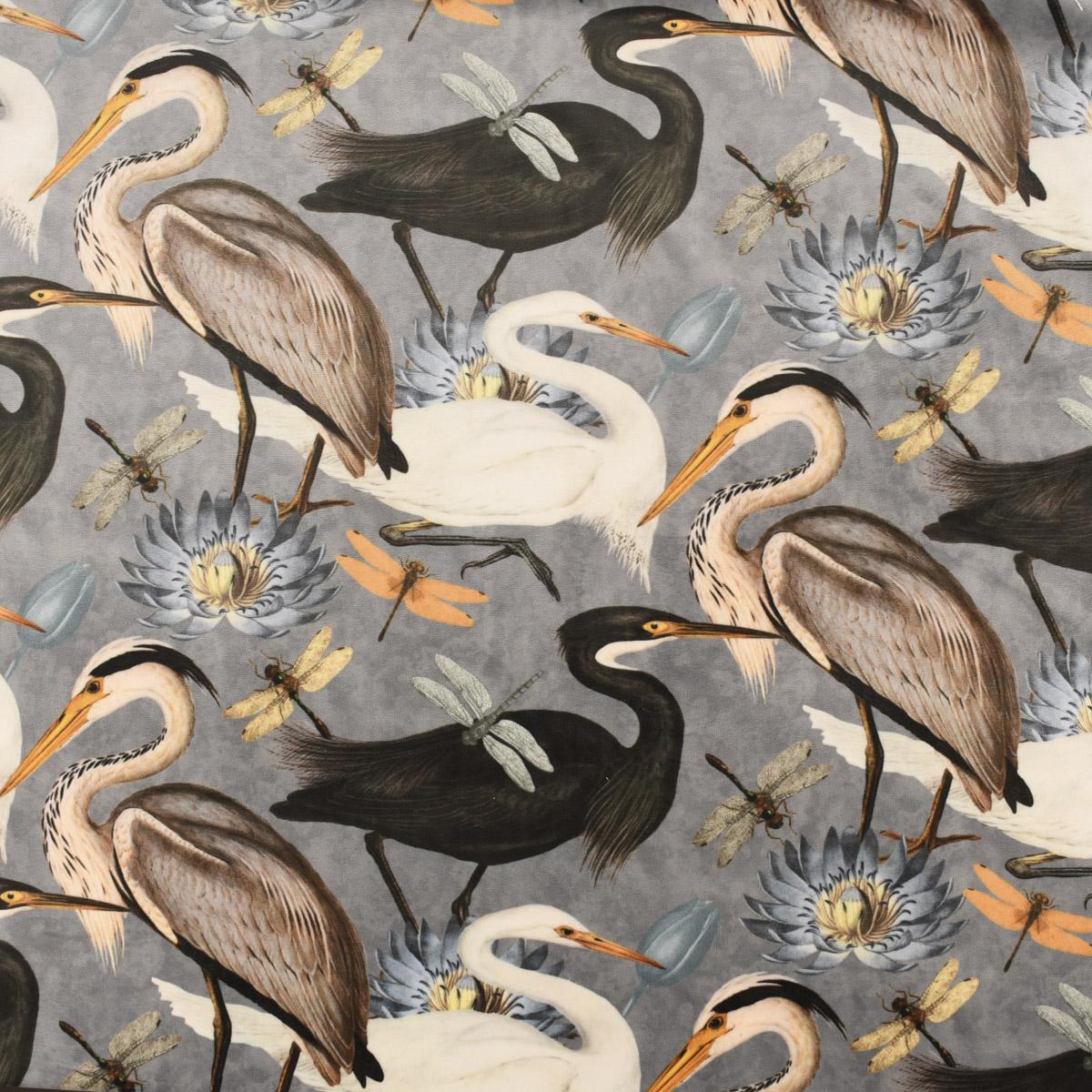 Samtstoff Dekostoff Velvet Samt Heron Bird Kranich Reiher Asia grau 1,45m