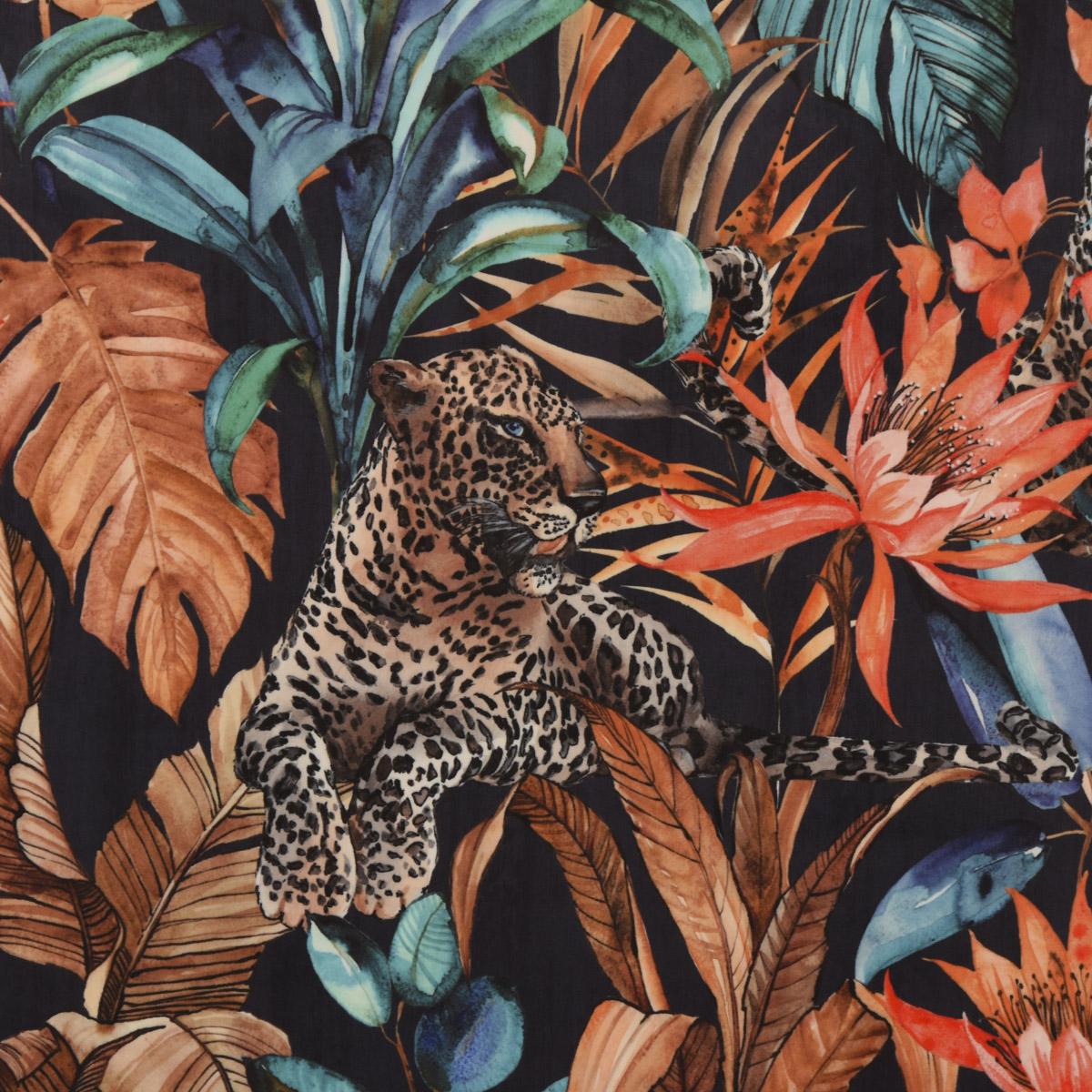 Samtstoff Dekostoff Velvet Samt Leopard Fantasy Jungle Dschungel schwarz orange blau 1,45m