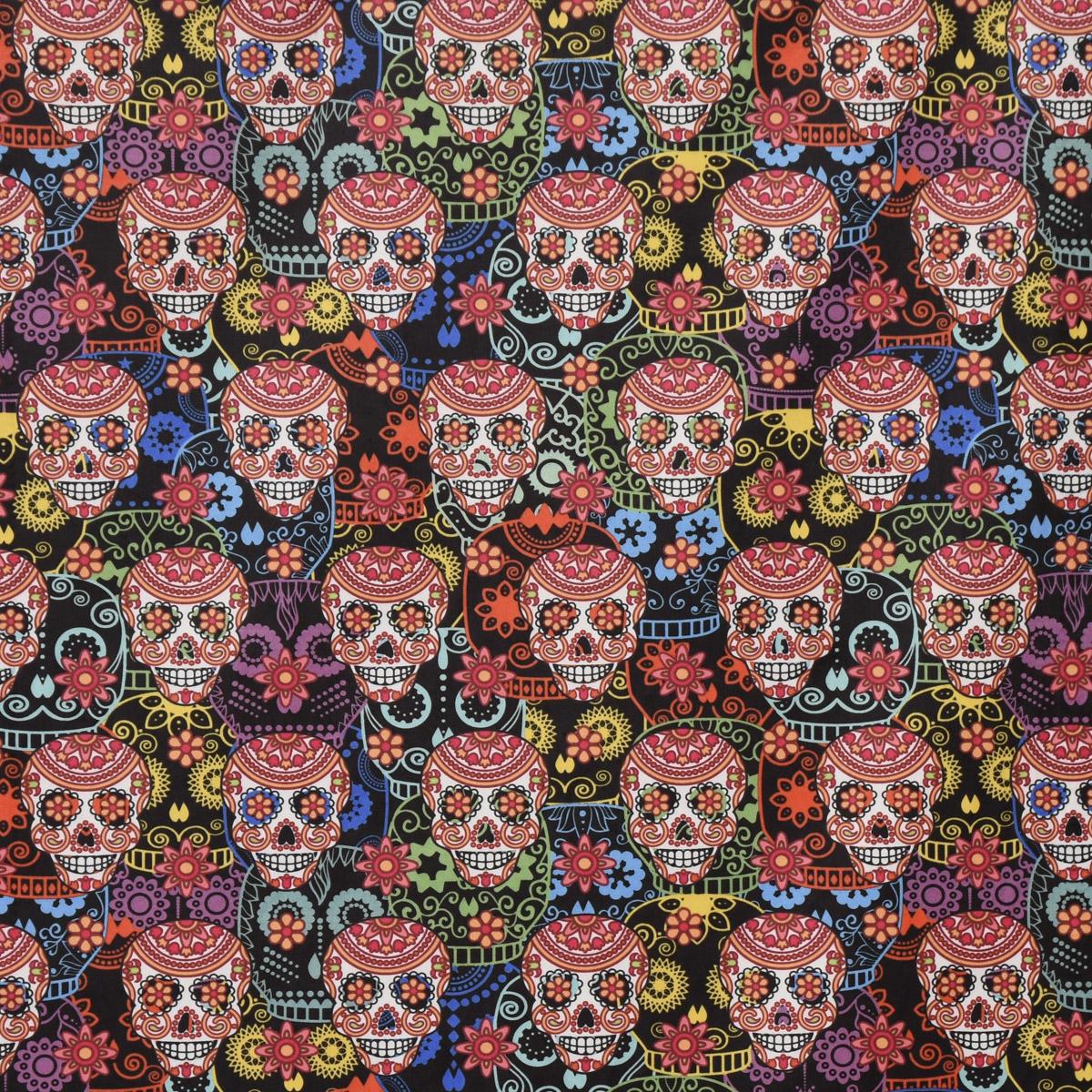 Samtstoff Dekostoff Velvet Samt Digitaldruck Totenköpfe Dia de Muertos multicolor 1,40m