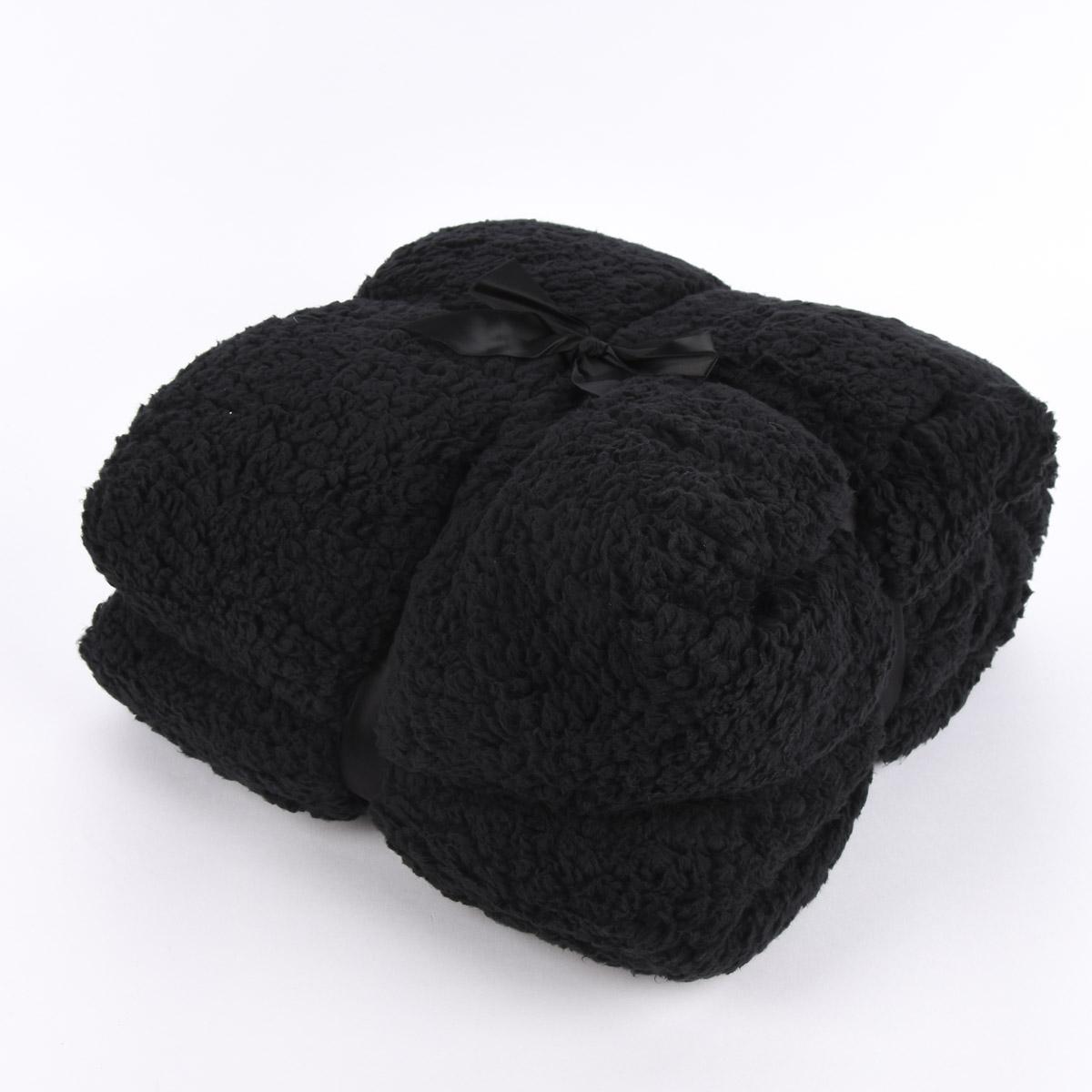 Mikrofaserdecke Kuscheldecke TEDDY schwarz 150x200cm