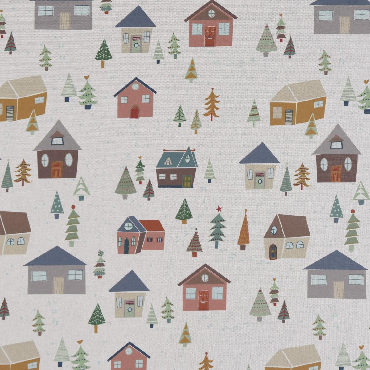 Panama Dekostoff Baumwollstoff Weihnachtsstoff Alpine Twilight Häuser Tannenbäume ecru bunt 140cm Breite