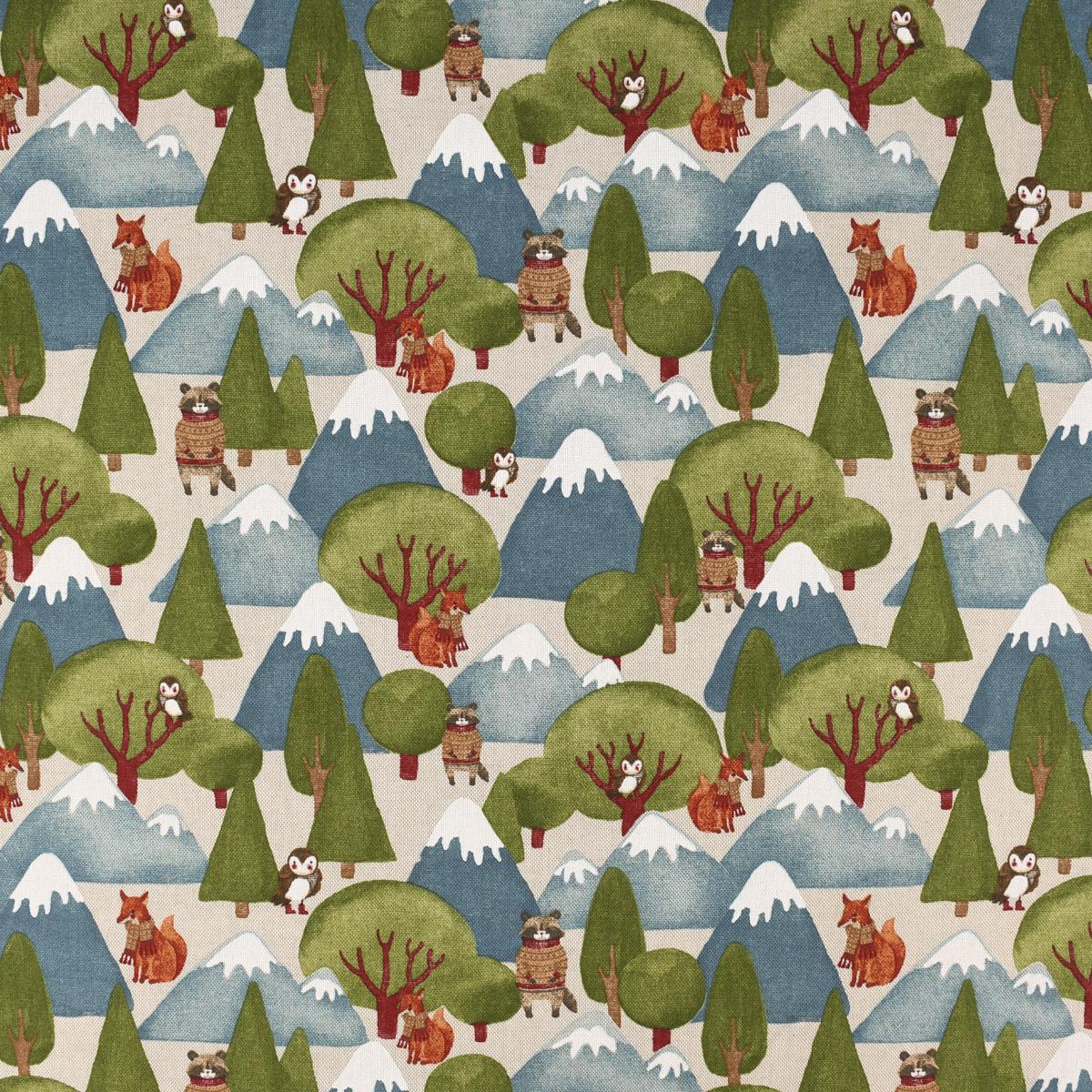 Dekostoff Halbpanama Leinenlook Wald Berge Wintertiere Fuchs Eule Waschbär natur grün blau 1,40m Breite