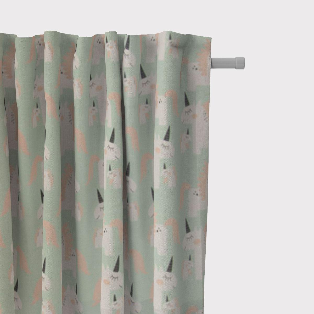SCHÖNER LEBEN. Vorhang Einhörner mint weiß rosa 245cm oder Wunschlänge