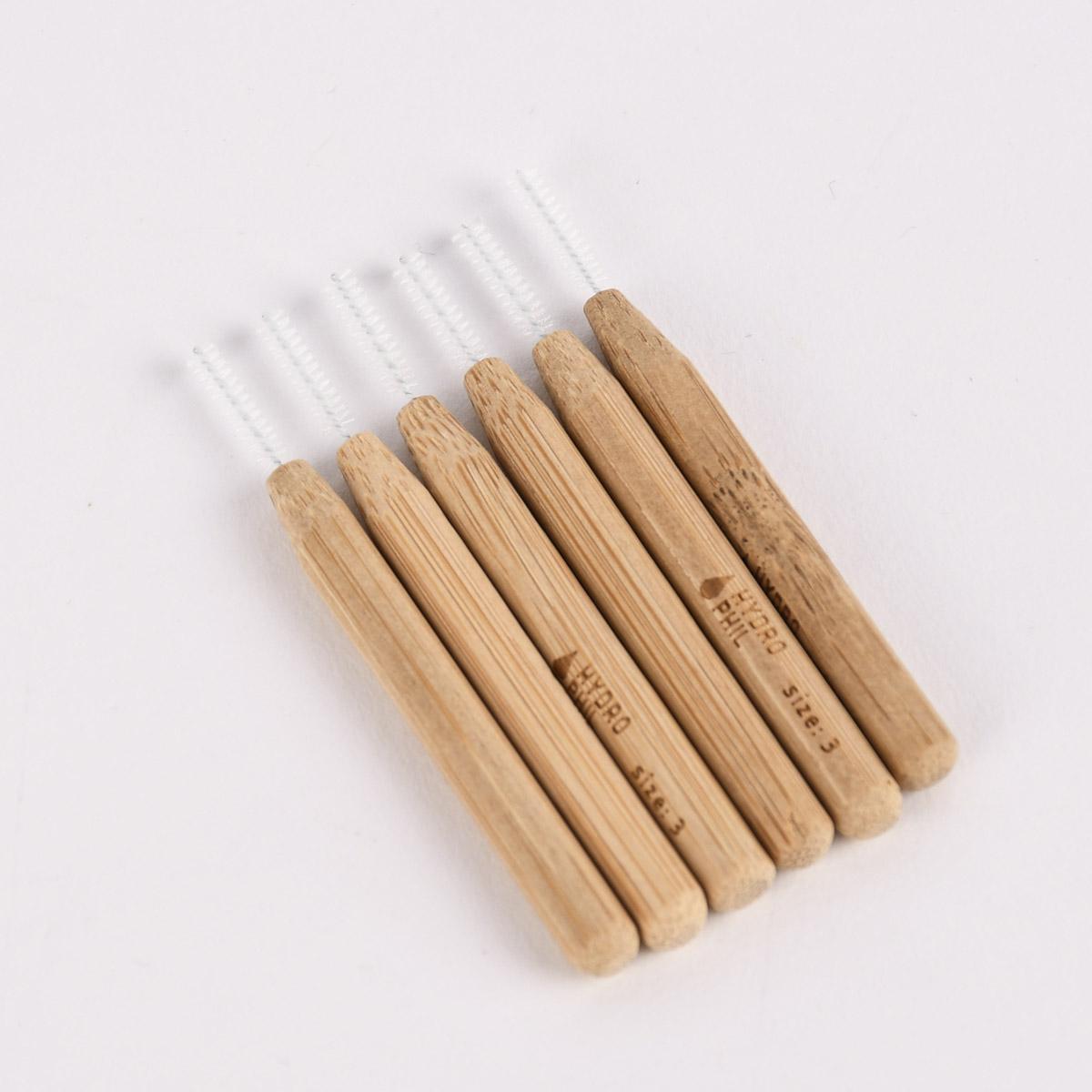 Hydrophil Nachhaltige Interdentalbürsten aus Bambus 6 Stück 0,6mm Größe 3