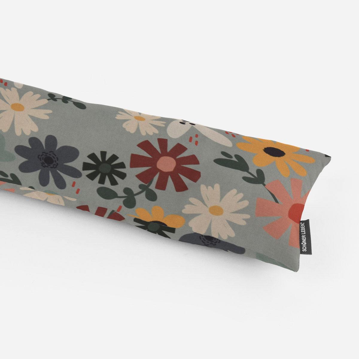 SCHÖNER LEBEN. Zugluftstopper Halbpanama Blumen Blüten mint bunt verschiedene Größen