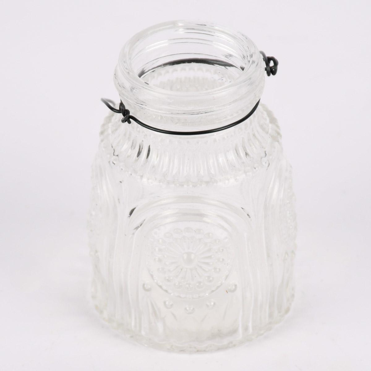 Vase Laterne geprägt Mandala Glas mit Henkel aus Draht klar 5,5x8cm
